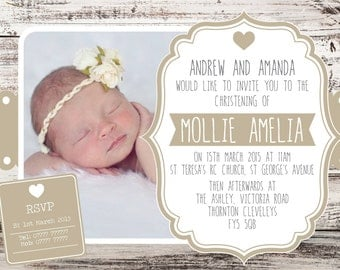 Digital Printable Boys or Girls Shabby Chic Rustic neutral christening baptism invitation