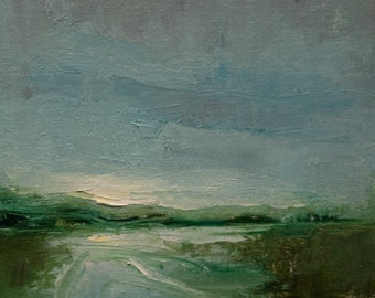 River Run. 8X8 Original tonalist landscape oil painting from Timber Trail Arts.