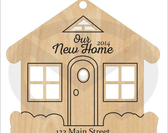 House Shaped Christmas Ornament with laser-etched year & address, New Home, Gift