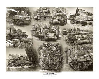The Sherman Tank in WW2 Signed and Numbered Print