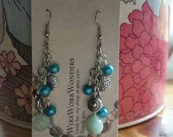 Blue and silver dangle earrings beach theme