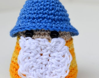 Crocheted Amigurumi Little Gnome or Wizard Blue and Yellow