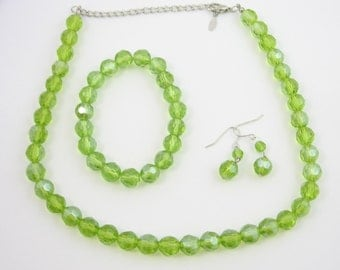 EsMor Green Crystal Glass Bead Necklace, Bracelet, Pierced Earrings Set *