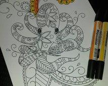 Adult Colouring Page, Paisley Octopus