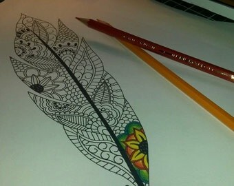 Adult Colouring Page, Feather, Paisley