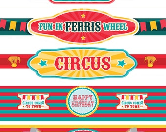 Circus Water Bottle Labels Birthday Printable Circus Labels Instant Download