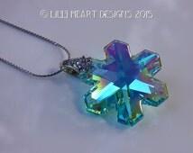 m/w Swarovski Crystal RARE RETIRED Antique Green (Aqua) AB Coated Suncatcher Logo Etched Snowflake Silver Plated Chain Lilli Heart Designs