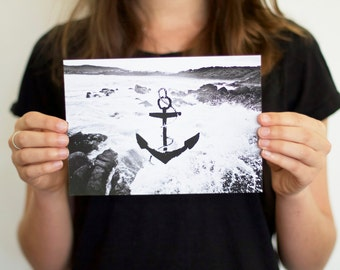 Anchor A5 Print, black and white, wave
