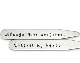 FATHER of the BRIDE GIFT Collar Stays in stainless steel