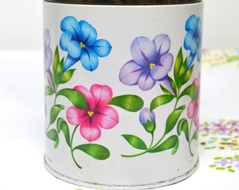 vintage tin with floral decorations 60s/70s for fox's glacier mints