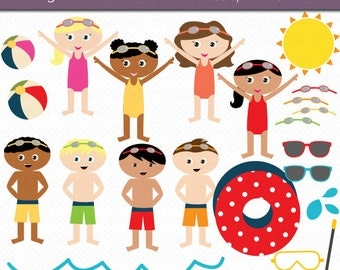 Pool Party Kids Digital Art Set Clipart Commercial Use Clip Art INSTANT Download Swim Clipart Pool Party Clipart