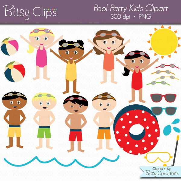 Pool Party Kids Digital Art Set Clipart Commercial Use Clip