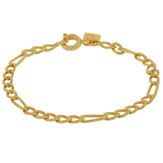 Thin Gold Chain Bracelet: Gold Filled 18k Figaro Chain Link Thin Bracelet 4.5