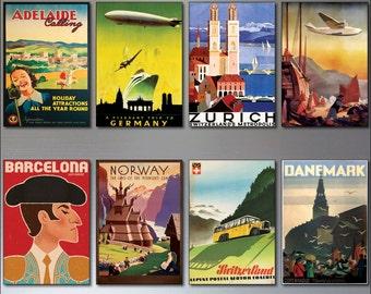 8 Vintage Travel Posters Fridge Magnets from Art Deco design - Retro repro No.2