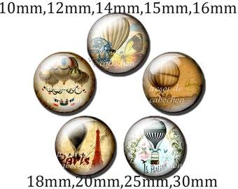 5pcs Y142 Cabochons manual diameter of 10mm 12mm 14mm 15mm 16mm 18mm 20mm 25mm 30mm Montgolfières