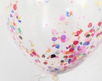 "CONFETTI balloons 11"" clear with mini round tissue paper confetti in rainbow"