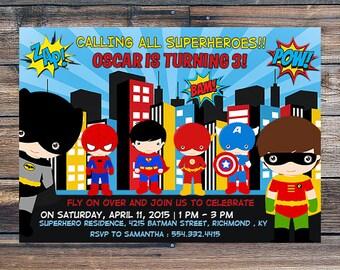 Superhero Invitation , Superhero Invite , Superhero Birthday Invitation -Super Hero Birthday Party -  Printable Digital Invitation