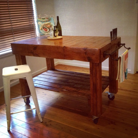 butchers block island bench for kitchen on by upcycledwoodoz