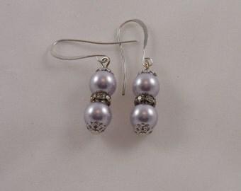 Lavender Swarovski Crystal Pearl Earrings Valentine Gift Jewelry