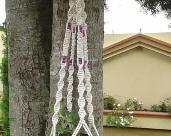 "Free shippingNatural macrame plant hanger 43"" / hanging/Rope planter/ pot holder / indoor/ outdoor , medium 100% cotton cord,Bird feeder"