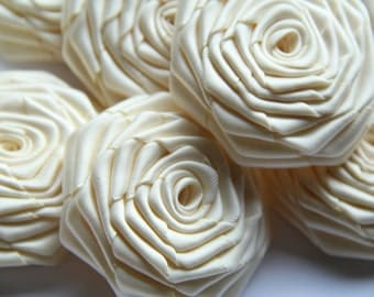 20 Handmade Double Face Satin  Ribbon Roses In Ivory  (2.5 inches). Ready to ship.