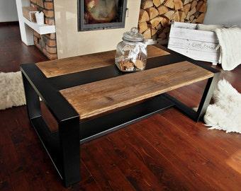 Handmade Rustic Reclaimed Wood & Black Steel Industrial Coffee Table