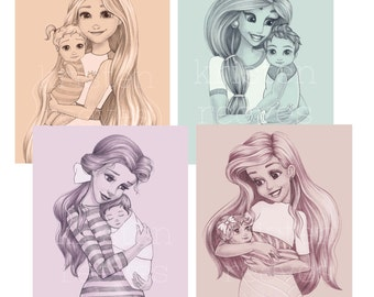 4 - 8x10 Princess Mothers - Children's Wall Art Prints - Baby Kids Nursery Room Decor