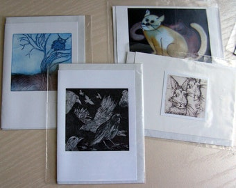 4 Art Cards-Greeting cards-Animals (Owl, Raven, Cat, Bunny)-Print from original-watercolour/etching-Inside empty-Birthday