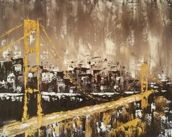 "Golden gate bridge painting San Francisco art Golden gate bridge art San Francisco skyline art Abstract city painting Oil painting 24x20"""
