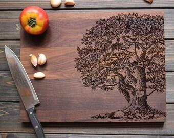 Custom Wedding Gifts Cutting Board, Personalized Engraved Cutting Board Walnut wood tree birds Custom Anniversary Gift