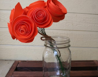 12 orange  Paper Flowers on Stems- Bouquet of Paper Flowers- Home Decor