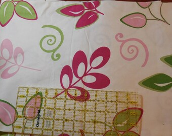 Destash- Pink and Green Print Home Decor Weight Fabric-1 yard