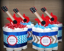 Rock Star baby shower/ Boys rock/ Its a boy/ Chevron diaper cake/ Musical baby shower/ Rock star theme/ Centerpiece/ mommy to be/ Oh Boy