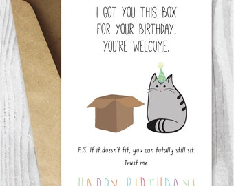 Birthday Card, Printable Happy Birthday Cat Digital Card, Funny Printable Card, Cat Box, Instant Download, Happy Birthday from the Cat