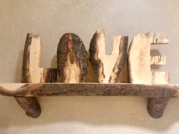 love letters hand carved wood word from log slices freestanding live edge wood word art