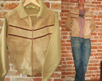 Men's Vintage 1970's Cowhide Jacket/Sweater with Contrast Chevron Design, Size Large