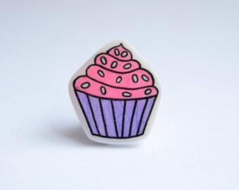 Pink Cupcake Brooch