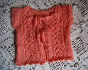 vest girl, salmon, sleeveless, 3 years old, hand knitted, new