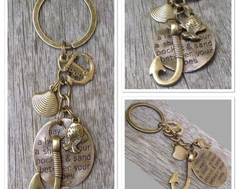 Vintage Style Antique Alloy Metal Nautical Anchor Sea Hook Bronze Keyring Keychain