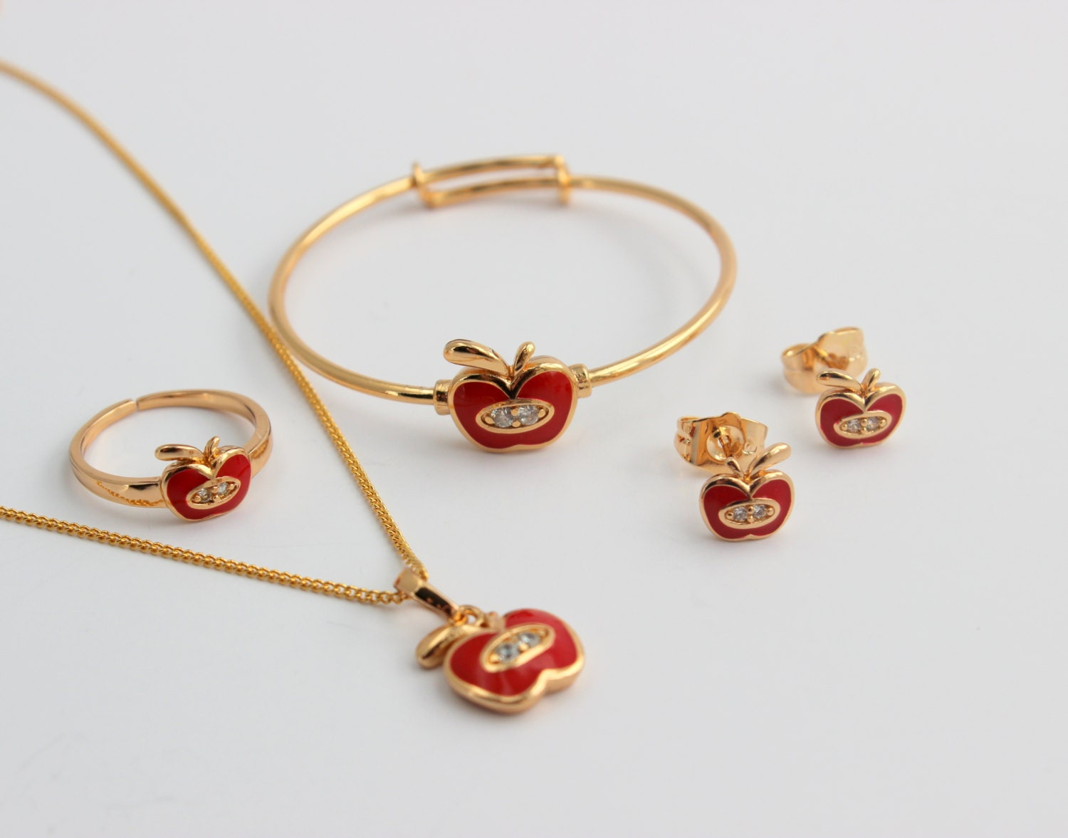 Little Girls Gold Filled Jewelry Set Crystal by ...