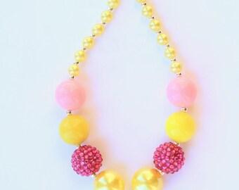 Pink Lemonade Girls Necklace, lemon slice necklace, chunky bead necklace, bubblegum necklace, pink lemonade, Lemonade party, pink and yellow