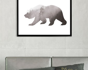Abstract Grey Print, Black Bear Print, Wild Bear Print, Bear Wall Decor, Modern Bear, Grey Printable, Bear Art Print, Abstract Animal Art