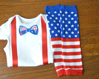 Boys American Flag Bow Tie Outfit: Memorial Day, 4th of July, Military Homecoming - embroidered bodysuit