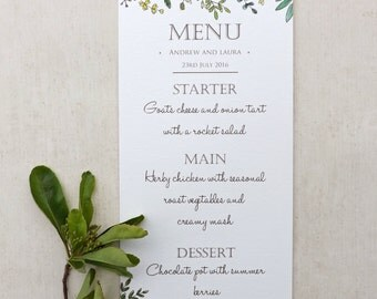 Woodland Walk Wedding Menu