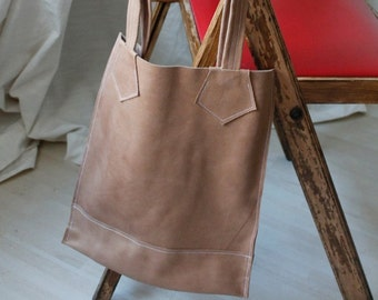 Handmade eco leather bag, leather shopper, eco friendly leather