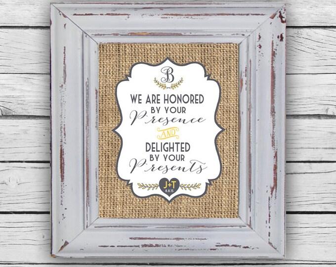 WEDDING GIFT TABLE Sign, Wedding Printable, Wedding Stationary, Gift Sign, Digital
