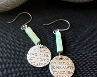 Fine Silver Love-Loaded-Circle Earrings with Rectangular Turquoise Beads