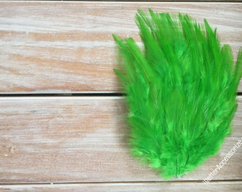 feather pad, feather pads, feather, feathers, lime green feather pad, hair accessories, supplies, hackle feather pads