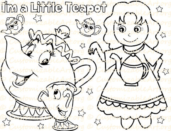 i am a little teapot coloring pages - photo #8