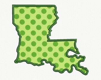 State of Louisiana Applique Machine Embroidery Design - 5 Sizes